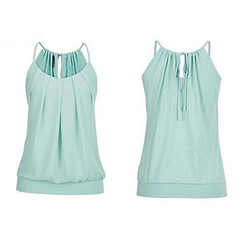 Hengshikeji Women Summer Loose Wrinkled O Neck Cami Tank Tops Vest Sleeveless Blouse Shirts Teen Girls