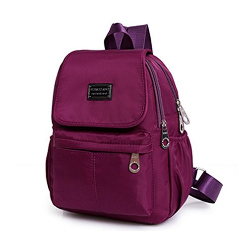 Hemss Nylon Oxford Cloth Waterproof Canvas Shoulder Travel Leisure Fashion Handbags(DarkPurple) (Central Furniture Oxford)