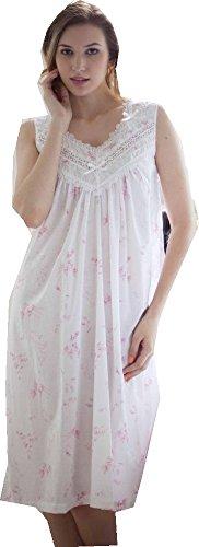 Cotton Real -  Camicia da notte  - Floreale - Donna Rosa