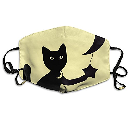 Womens Winter Warm Mouth Anti-Dust Flu Face Mask Black Cat and The Moon -
