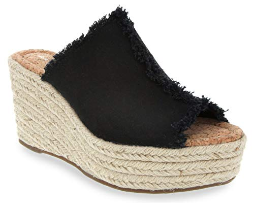 Rampage Women's Halper Slide On Espadrille Platform Wedge Sandal 6.5 Black Canvas
