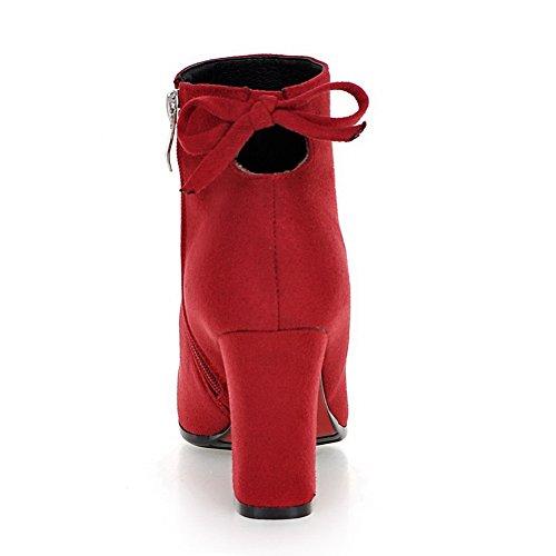 Balamasa Moda Donna Solido Stivali Di Camoscio Senza Chiusura Rosso
