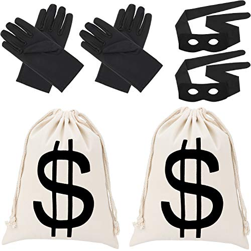 Robber Costume, Bandit Eye Mask Gloves Canvas Drawstring Money Bag for Cosplay