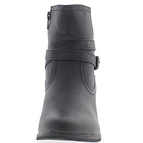Schwarze Frauen Stiefel Ferse westlich von 5,5 cm und ineinandergreifenden Flansche gesäumten