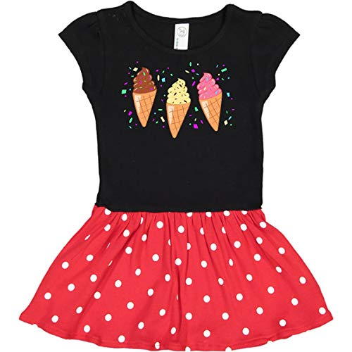 inktastic - Ice Cream Trio Toddler Dress 5/6 Black & Red with Polka Dots ()