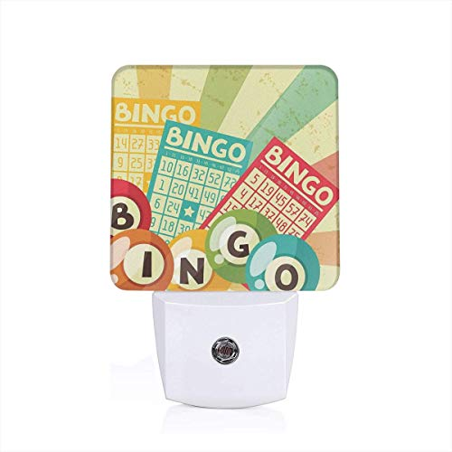 Colorful Plug in Night,Bingo Game with Ball and Cards Pop Art Stylized Lottery Hobby Celebration Theme,Auto Sensor LED Dusk to Dawn Night Light Plug in Indoor for Childs Adults