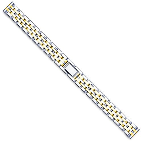 Women's Link Style Metal Watch Band - Two Tone - (fits 14mm to 18mm) - Panther Link Watch