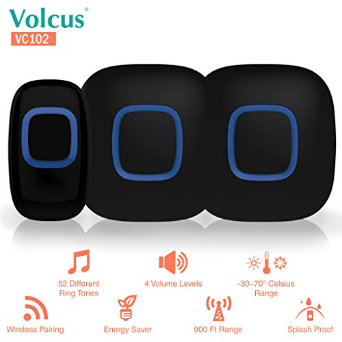 Volcus® VC102 Wireless Smart Doorbell: 1 Wireless Button Transmitter & 2 Wireless Plugin Receivers, 52 Selectable...