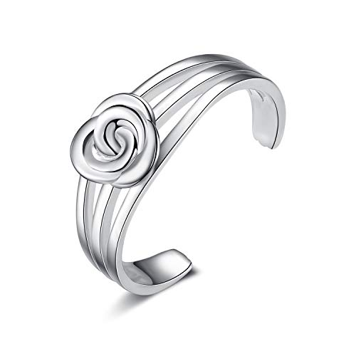 LUHE Adjustable Toe Rings for Women Sterling Silver 3D Rose Flower Toe Rings Jewelry Gifts,Romantic Gifts for Women Girls Her (Rose Toe Rings)