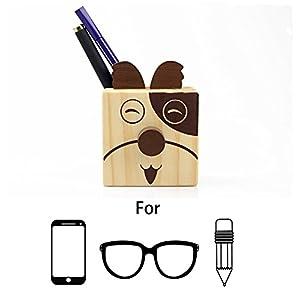 Aimeio Multifunction Eye Glasses Cat Holder Cat Pen Holder Wooden Cat Desktop Organizer Home Ornaments,Puppy