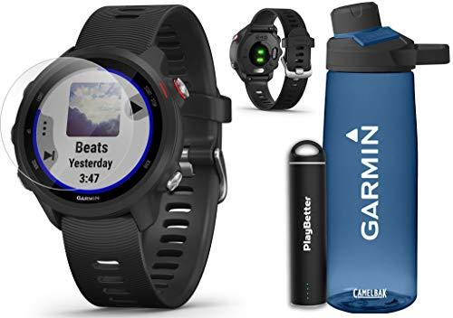 Garmin Forerunner 245 Music (Black) Running GPS Watch Runners Bundle | +Garmin Water Bottle, HD Screen Protectors & PlayBetter Portable Charger | Music & Spotify, PulseOx 2019 010-02120-20 (Best Music On Spotify)
