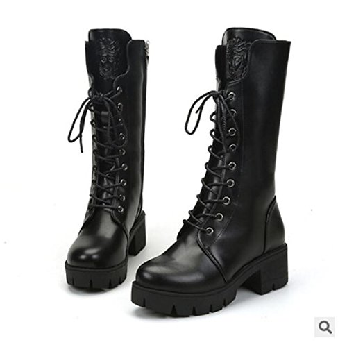 HSXZ Zapatos de Mujer Otoño Invierno PU Confort Botas Chunky talón puntera redonda Mid-Calf botas para negro casual Black