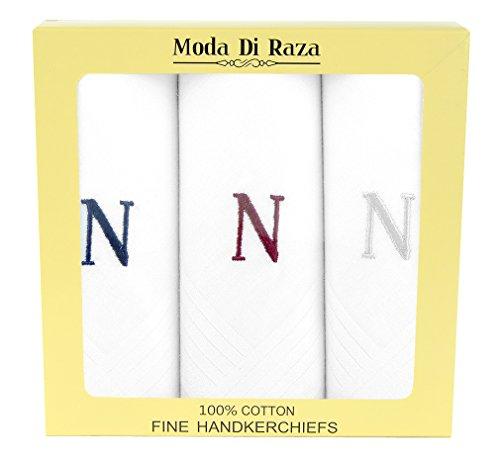 Moda Di Raza - Men's Cotton Monogrammed Handkerchiefs Initial Letter Hanky - N by Moda Di Raza
