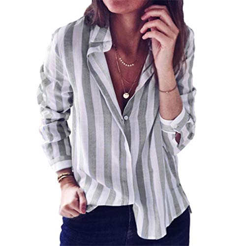 Shirt Femme Hauts Chemise Boutons Longues Blouse Tops Gris Rayure Casual Col Xinwcang Elegant Manches T V XY7qdxw