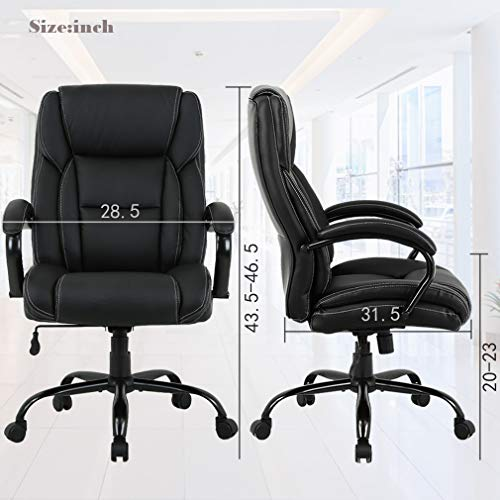 High-Back Big and Tall 500lb Home Office Chair,Ergonomic PU Executive Chair with Lumbar Support Headrest Swivel Chair for Women, Men (Black) by FDW (Image #6)