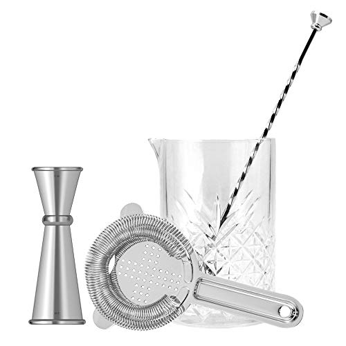 Cocktail Mixing Glass Bar Set By Homestia 4-Piece: 24.5oz Thick Mixing Glass, Hawthorne Cocktail Strainer, Double Jigger, Bar Spoon,Silver Bar Set