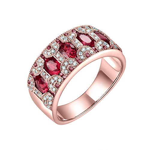 Beyond jewelry 1.58CT Natural Oval Emerald Sapphire Ruby Wedding Rings for Women 14k Solid Real Gold Genuine Diamond Engagement Stackable Band Ring
