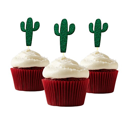 - Cactus Cupcake Topper 12 pieces per Pack Cupcake Topper Decoration Card Stock Green