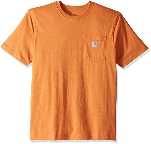 Carhartt Men's K87 Workwear Pocket Short Sleeve T-Shirt (Regular and Big & Tall Sizes), apricot orange heather, 2X-Large