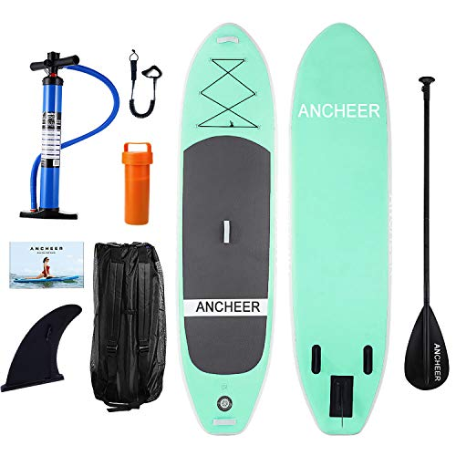 ANCHEER Inflatable Stand Up Paddle Board 10', iSUP Package w/Adjustable Paddle, Leash, Pump and Backpack]()