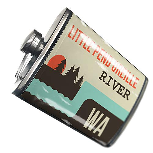 NEONBLOND Flask USA Rivers Little Pend Oreille River - Washington Hip Flask PU Leather Stainless Steel Wrapped (Outdoor Pend)