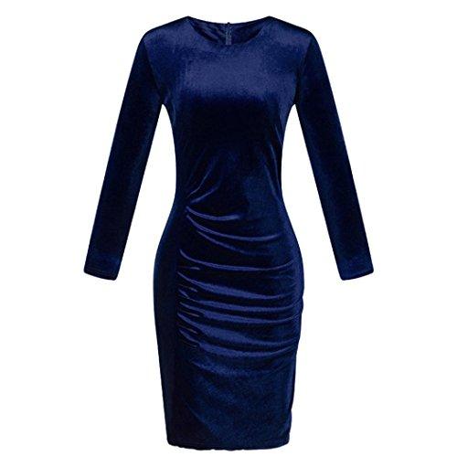 (Hunputa Sexy Womens Stretch Velet Winter Warm Long Sleeve Bodycon Midi Dress Cocktail Evening Party Plus Size (XL, Blue))
