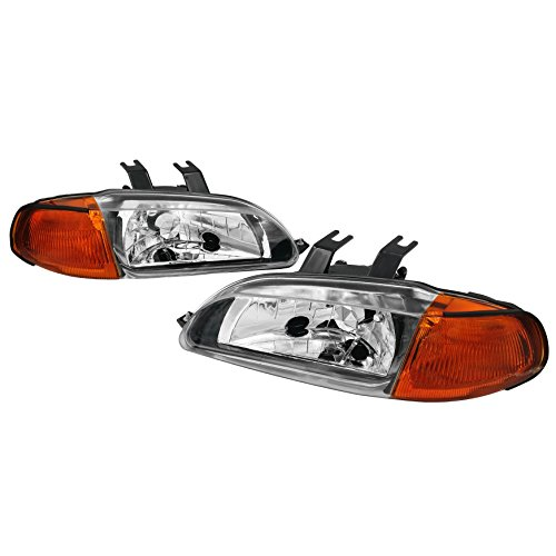 AJP Distributors 1 Piece Design JDM Headlights Lights Lamps Pair for Honda Civic 4 Door Dr Sedan 1992 1993 1994 1995 92 93 94 95 (Chrome Housing Clear Lens Amber Reflector)