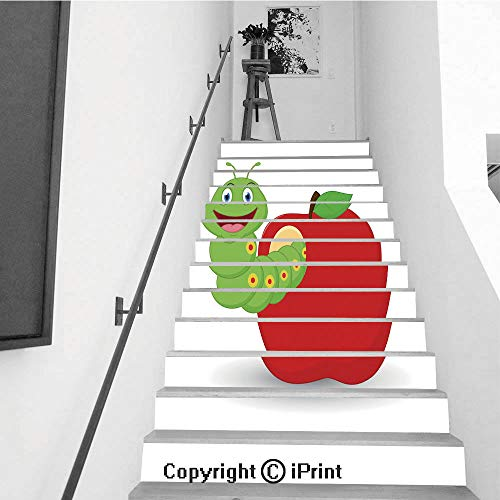 baihemiya stickers 13Pcs Stair Sticker Decals 3D Creative Building Stair Risers Tiles Wallpaper Mural Self-Adhesive,Cute Worm Cartoon in The Apple -