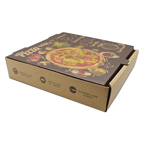 7.1x7.1x1.6 inch 50 Pieces Brown Paperboard Rectangle Disposables Food Supplies Pizza Package Boxes Kraft Folding Plain Pizza Box for Lunch Treat Cooking BBQ by PABCK