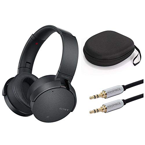 Sony XB950N1 Extra Bass Wireless Noise Canceling Headphones (Black) w/Carrying case & 10ft Audio Cable - Sony Black Noise Canceling Headphone