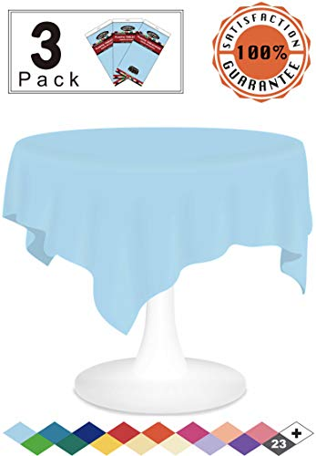 Light Blue Plastic Tablecloths Christmas Disposable Table Covers 3 Pack Party Tablecovers 84 Inches Vinyl Circle Table Cloths for Round Tables up to 6 ft and for Fall Birthday Wedding Xmas Banquet (Birthday Party Tablecloth Round)