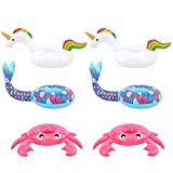 [6 Pack] Drink Holders, HeySplash Inflatable Beverage Floats Cup Coasters for Swimming Pool Party and Water Fun - Pink Crab, White Unicorn and Blue Mermaid