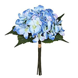 "Charmly Artificial Silk Hydrangea Flowers 6 Heads Bouquet Wedding Home Decoration Approx 7"" in Diameter Hydrangea-Blue 15"