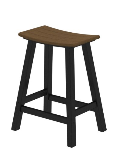 "POLYWOOD 2011-FBLTE Contempo 24"" Saddle Bar Stool, Black/Teak"