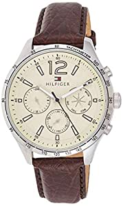 Tommy Hilfiger Mens Quartz Watch, Analog Display and Leather Strap 1791467