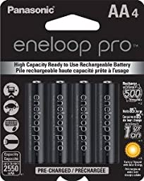 Panasonic Eneloop Pro 2550 mAH (was Sanyo 2500XX) AA Batteries - Sixteen Batteries with Free Battery Holders