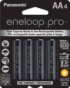 Panasonic Eneloop Pro 2550 mAH (was Sanyo 2500XX) AA Batteries - Sixteen Batteries with Free Battery Holders