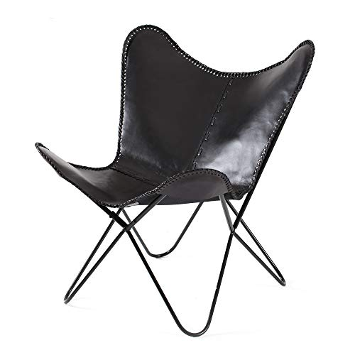 Madeleine Home Montreux Iron BKF Butterfly Chair with Real Leather Seating Handmade with Solid Metal Frame Indoor Furniture Office Balcony Home Patio Living Room Black