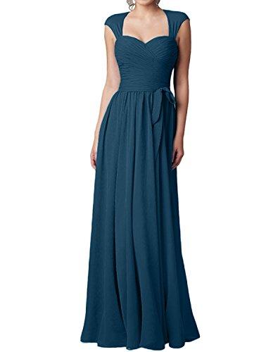Damen Blau Blau A Abendkleider Langes Tinte Charmant linie Attraktive Rock Brautjungfernkleider Neu Chiffon Festlichkleider OdWq65