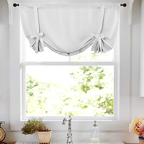(Tier Curtain Tie Up Curtain White Tie-up Tier Curtain for Windows Room Darkening Tie Up Shades 45 inch Rod Pocket Adjustable Balloon Window Shades, 1 Panel)