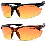 Xloop Hd Vision High Definition Anti Glare Driving Lens Sunglasses Wrap Semi Rimless Sports Eyewear (2 Pack Black/Brown)