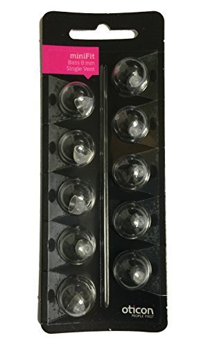 Oticon MiniFit Single Vent Bass Domes: 10-pack (Medium 8mm) by Oticon (Bass Dome)