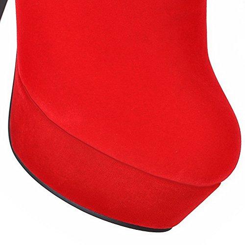 AllhqFashion Mujeres Tacón Alto Esmerilado Caña Baja Tachonado Cremallera Botas Rojo