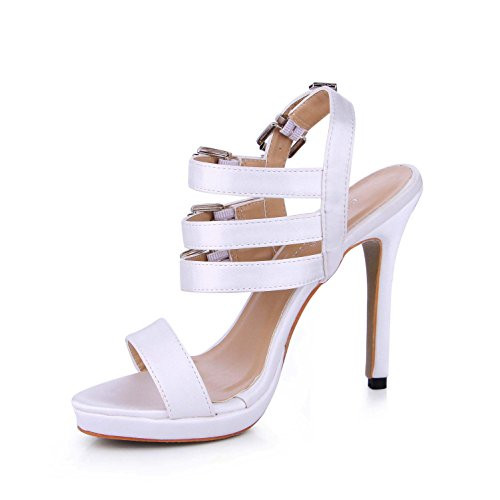 Sole White Rubber toe Cut High 4U Women's Sandals Best Summer Buckles Low 12CM Faux Peep Heels Pumps Silk Tq6wfnx