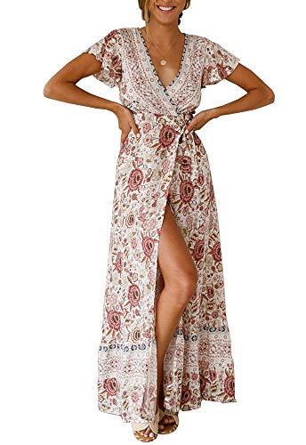 PRETTYGARDEN Women's Summer V Neck Wrap Vintage Floral Print Short Sleeve Split Belted Flowy Boho Beach Long Dress (130 White, Small) (Belt Belted Lace)