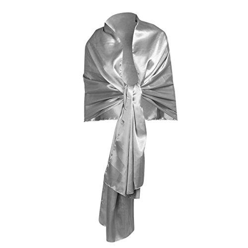 Occasions Bridal Evening Wear - iEFiEL Women Versatile Bridal Evening Dress Satin Shawl Elegant Wrap Scarf Silver-gray One Size