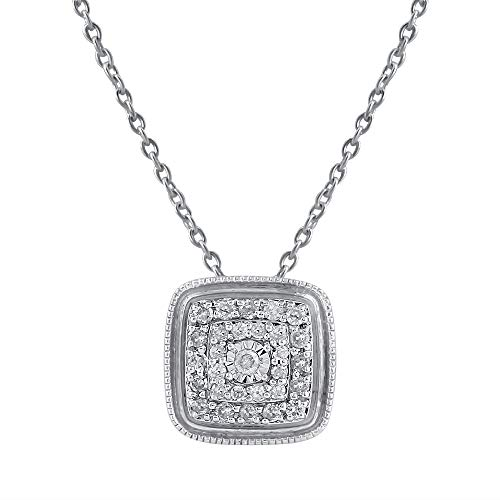 Square Shaped Diamond Pendants for Girls in 925 Sterling Silver Studded with Natural Real Diamonds Necklaces for Women (Color IJ, Clarity I2-I3) by Pipa Bella