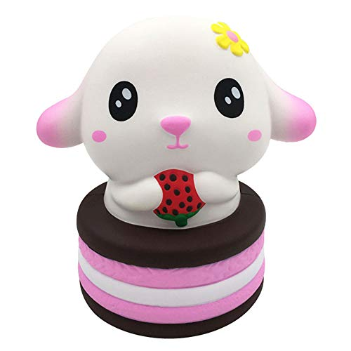L.DONG Jumbo Squishies Cake Dog Super Soft Slow Rising Cute Squishy Toys Kawaii Animal Birthday Strawberry Cake Food Vent Stress Squeeze Decoration Toys Funny Charms Gift for Kids Adults