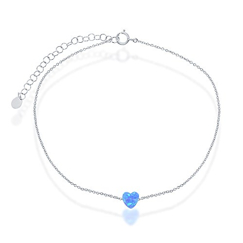 Sterling Silver Created Blue Opal Heart 9+2'' Anklet by Beaux Bijoux