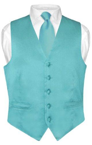 Biagio Men's Silk Dress Vest & Necktie Turquoise Aqua Blue Neck Tie Set XL ()